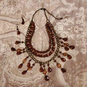 Wood-n-Bead Necklace/Earring Set